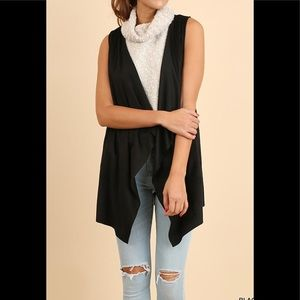 UMGEE NWT Black Open Front VEST Suede Small S